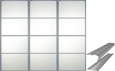 3 SILVER FRAME MIRROR (4 PANEL) SLIDING WARDROBE DOORS AND TRACK SET TO SUIT OPENING OF 2235MM WIDE